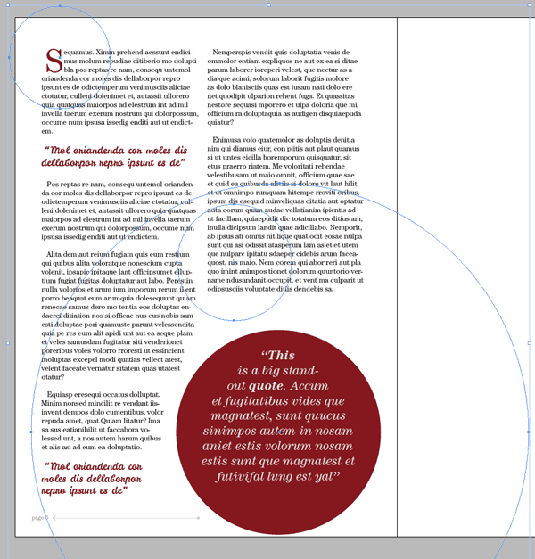 magazine layout design indesign text typography ellipse tool shape