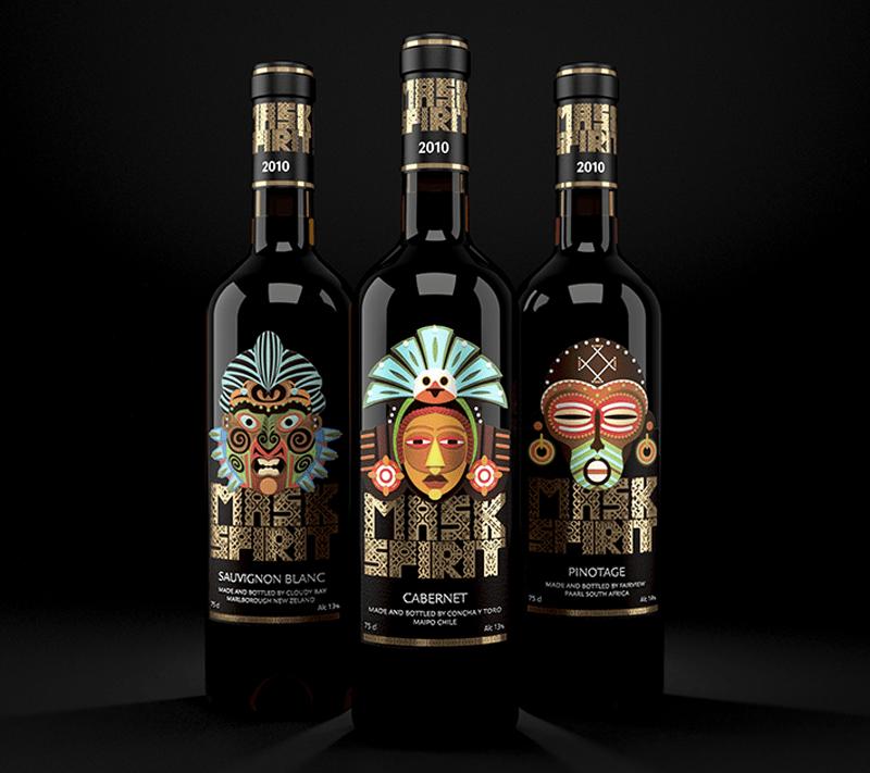 Mask Spirit wine bottle label design indesign
