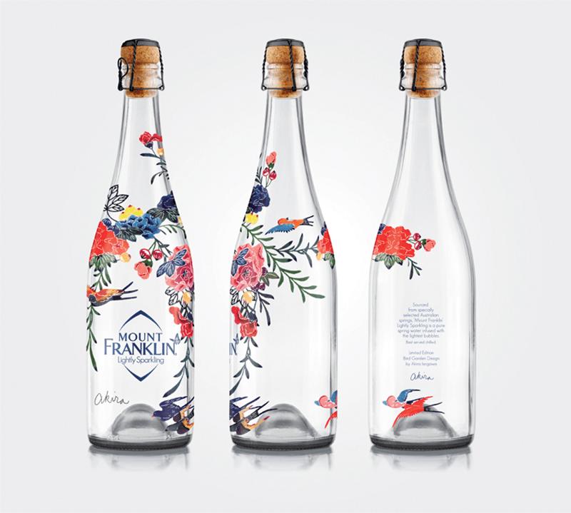 Mount Franklin Light Sparkling bottle label design indesign