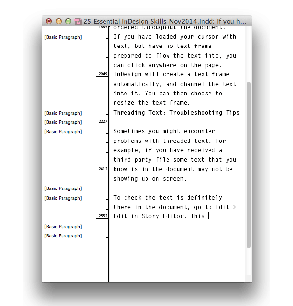 thread text story editor overset text