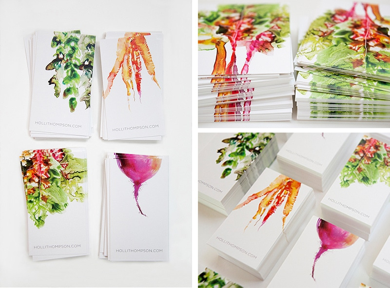 business card design watercolor painterly minimal holli thompson