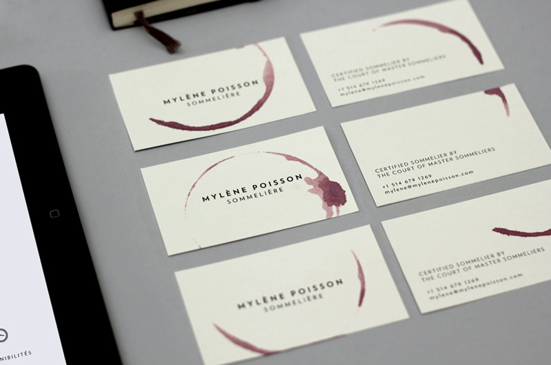 business card design watercolor painterly minimal indesign sommeliere studio caserne