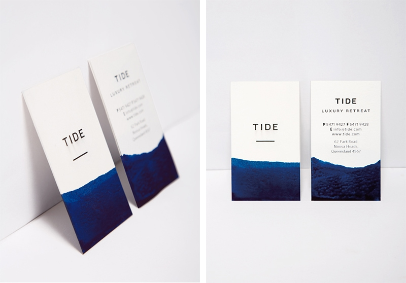 business card design watercolor painterly minimal indesign tide retreat