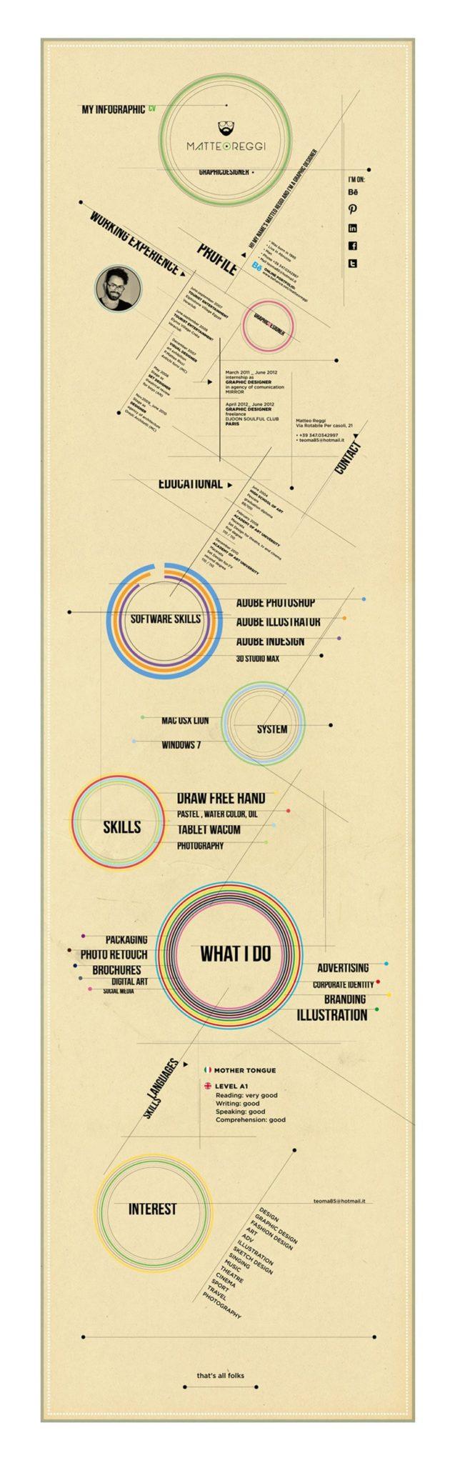 indesign cv resume inspiration infographic matteo reggi
