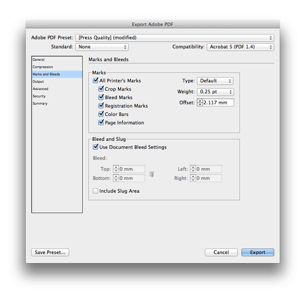 export indesign file for print
