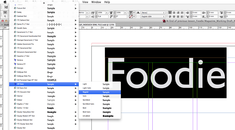 typography indesign gill sans font
