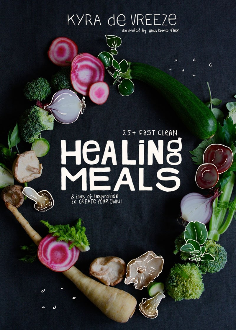 indesign book cover design healing meals cookbook aerial photo