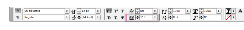 indesign typography tracking letter spacing