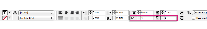 drop cap controls panel indesign
