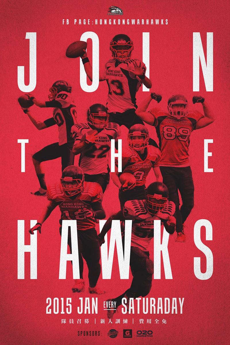indesign inspiration flat design join the hawks poster