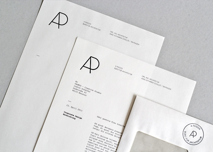 indesign inspiration stationery branding letterhead business card envelope a panzer corporate