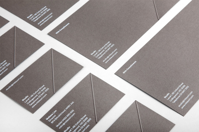 folded origami graphic design indesign business cards mitsuori architects