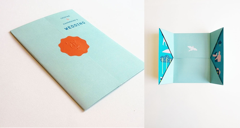 folded origami graphic design indesign wedding invite jefferson cheng