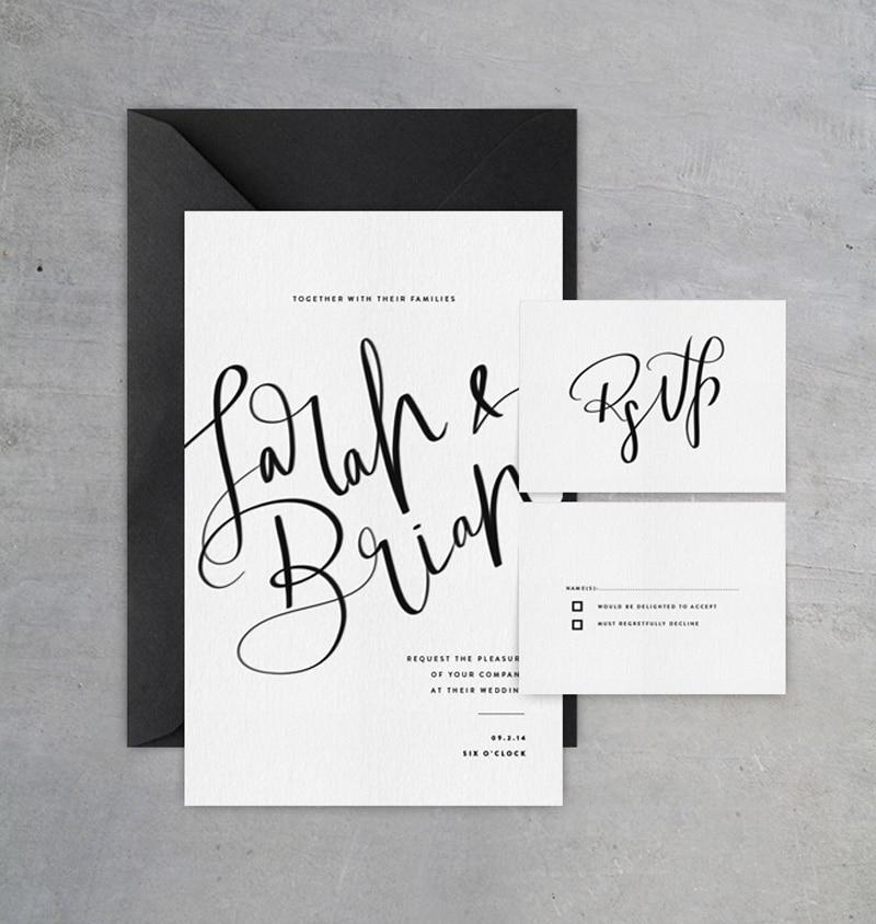 wedding invitations invite stylish unique modern beautiful design black and white monochrome cocorrina