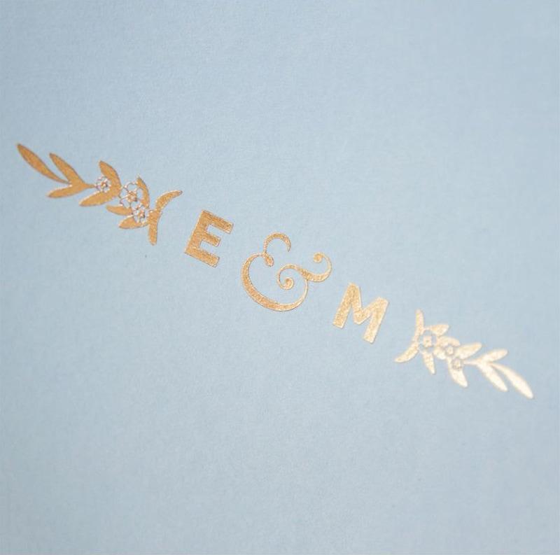 wedding invitations invite stylish unique modern beautiful design pale blue gold paperbowl london katie
