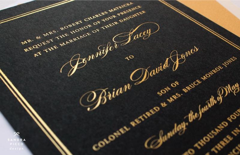 wedding invitations invite stylish unique modern beautiful design black gold elegant formal sandra picco