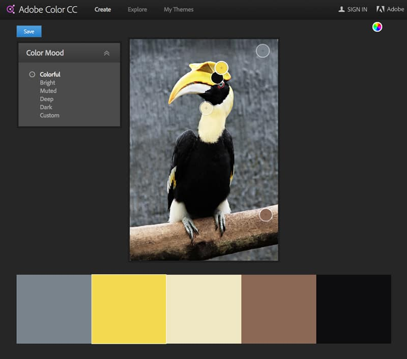 adobe color cc kuler color wheel color palette theme indesign taking color from photo