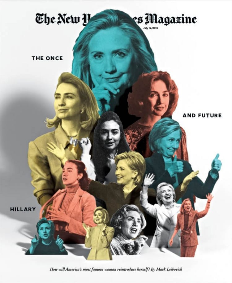 collage print design magazine layout book cover eccentric indesign graphic design inspiration magazine cover new york times magazine hillary clinton july 2015