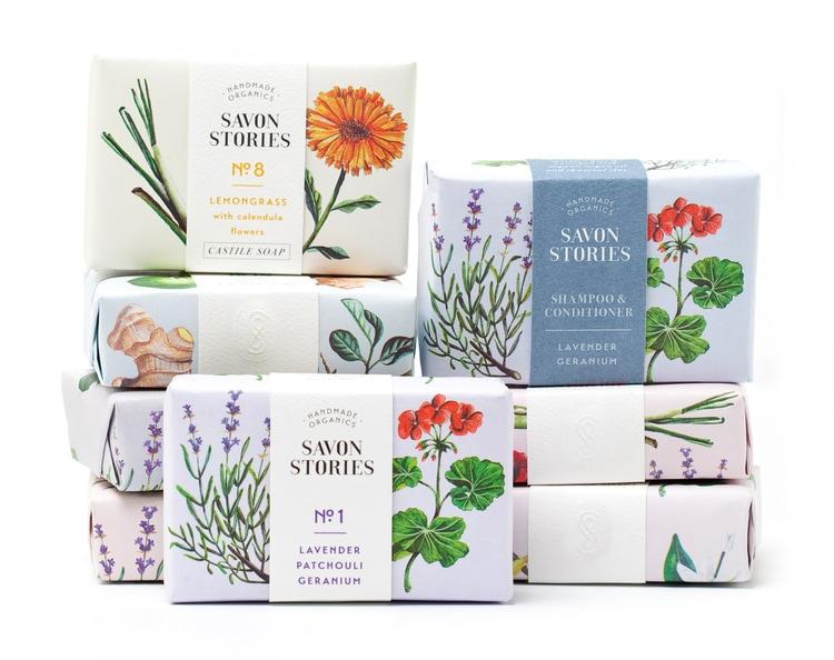 botanical graphic design flowers vintage packaging branding inspiration savon stories soap labels