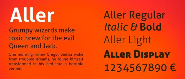 best free fonts business cards resume cv professional sans serif aller