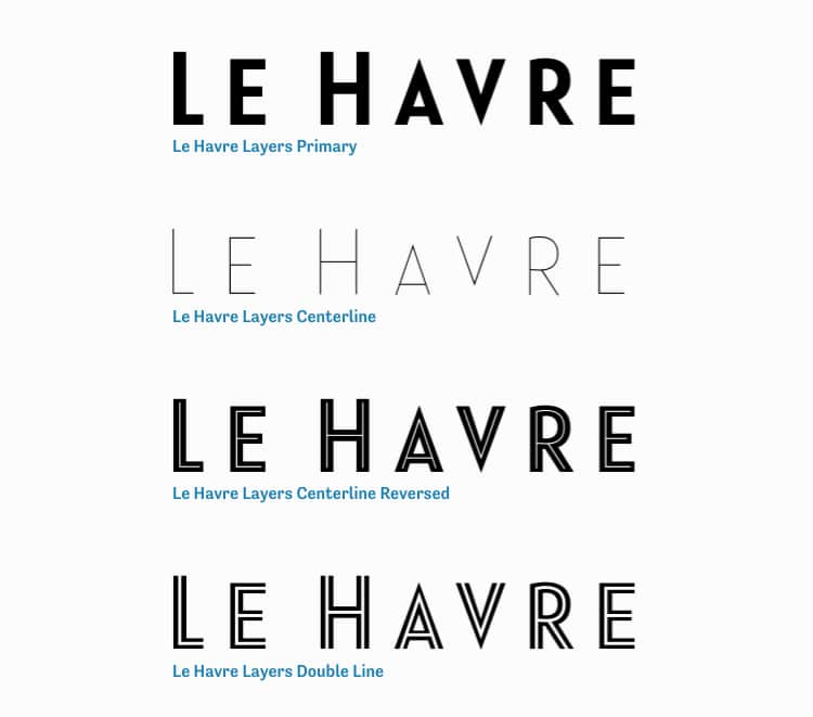 vintage retro authentic fonts era art deco twenties le havre layers sans serif