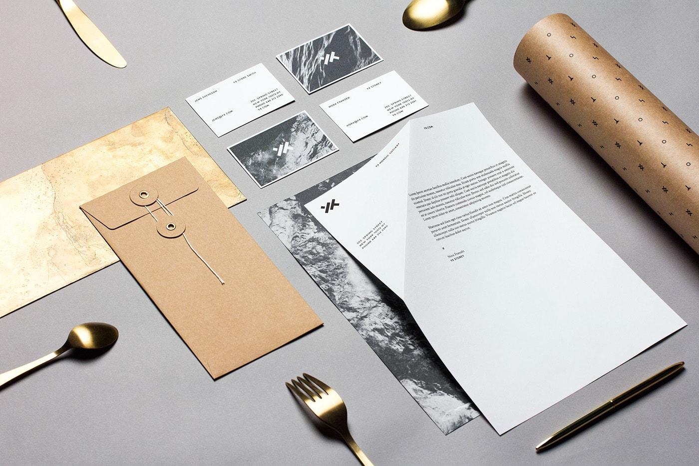 2017 graphic print design trends minimal subtle modern stationery business card letterhead