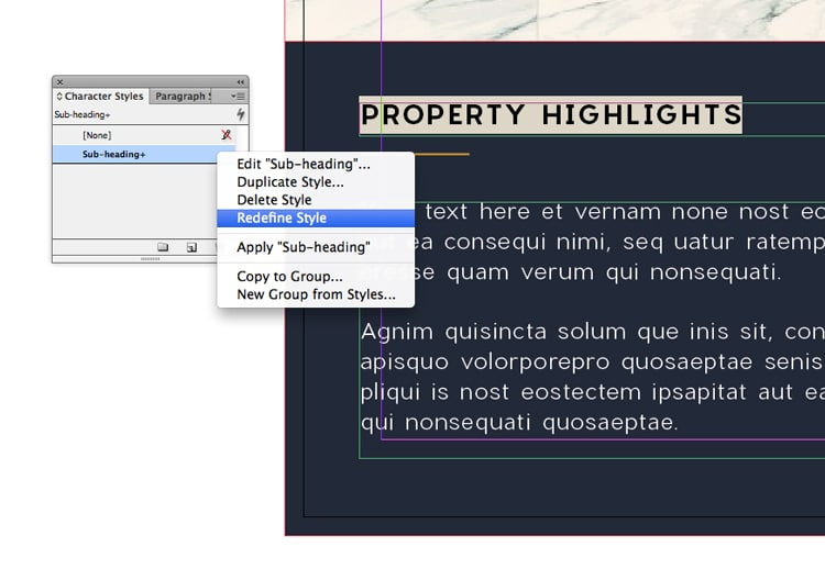 indesign templates change text styles