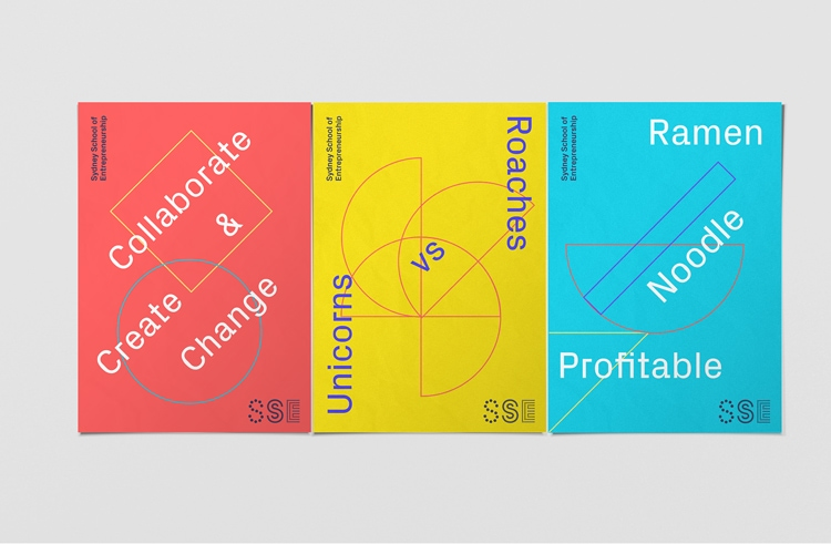 retro branding brand deign brand identity mondrian primary colors bauhaus swiss school sydney school of entrepreneurship
