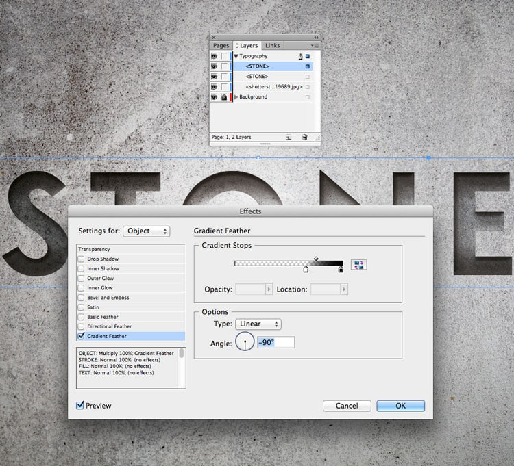 engraved stone quick typography text effect indesign adobe gradient