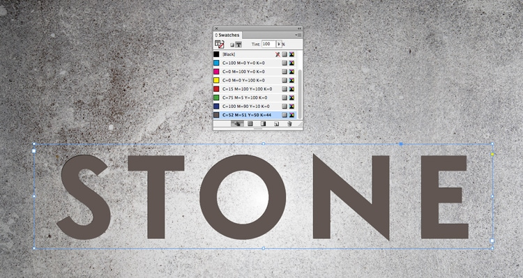 engraved stone quick typography text effect indesign adobe swatches