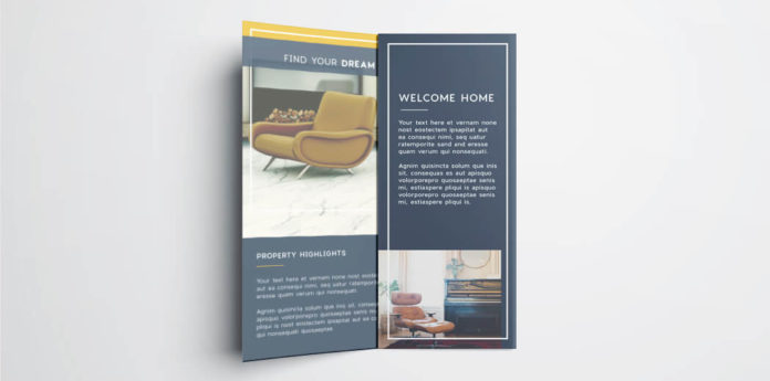 Real estate flyer free InDesign template - inside view of tri-fold real estate flyer with modern apartment