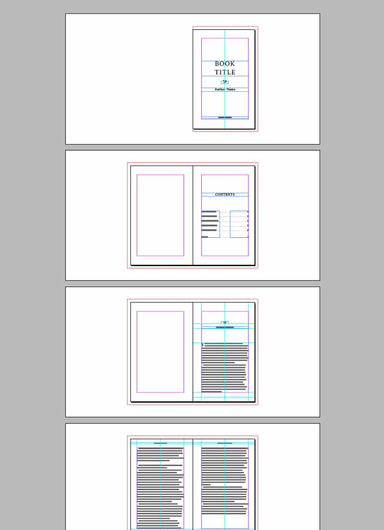 Screenshot of InDesign book template with contents, typesetting & chapter heading