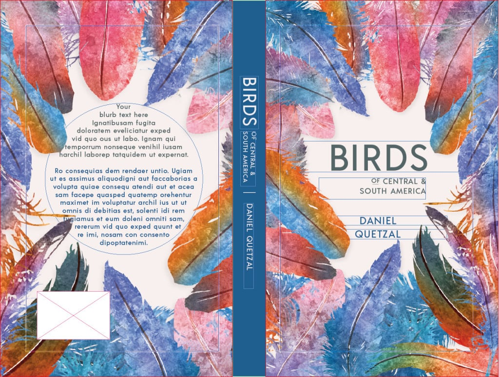 Screenshot of full book cover template for paperback. Front cover, adjustable spine and reverse.