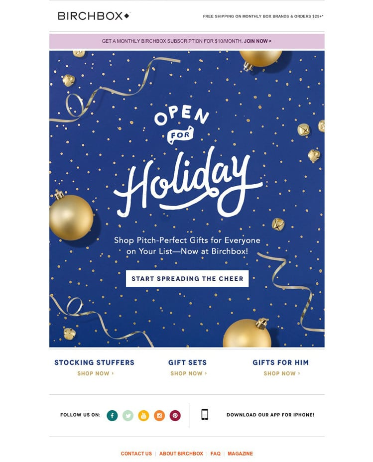 e-newletter email newsletter marketing design layout inspiration lifestyle beauty cosmetics birchbox christmas holidays