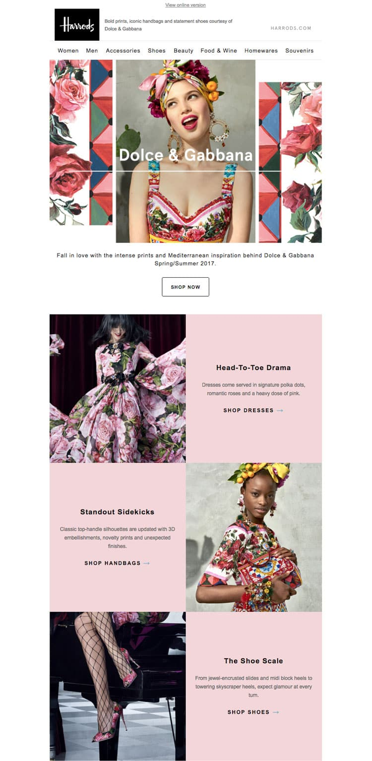 e-newletter email newsletter marketing design layout inspiration harrods fashion designer spring fun feminine
