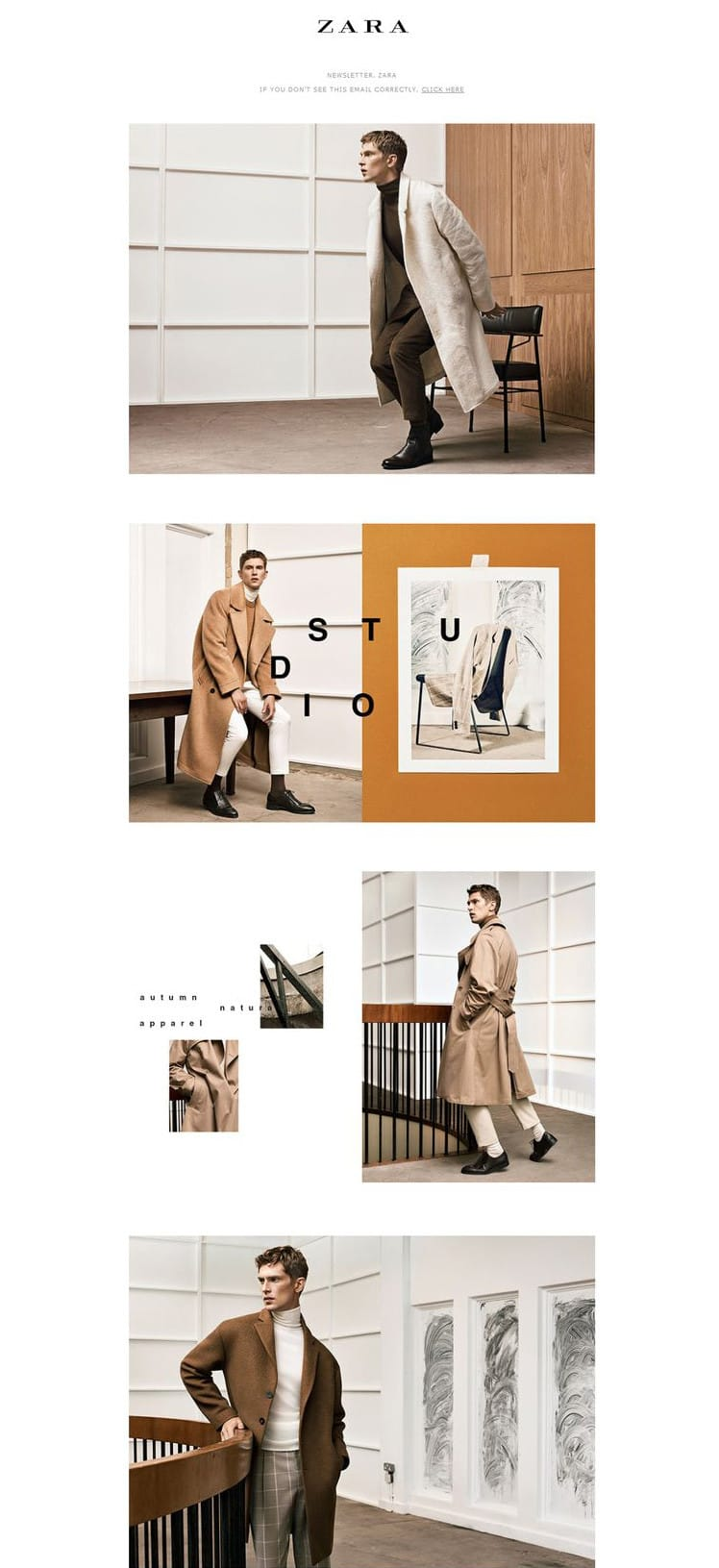 e-newletter email newsletter marketing design layout inspiration zara fashion menswear elegant