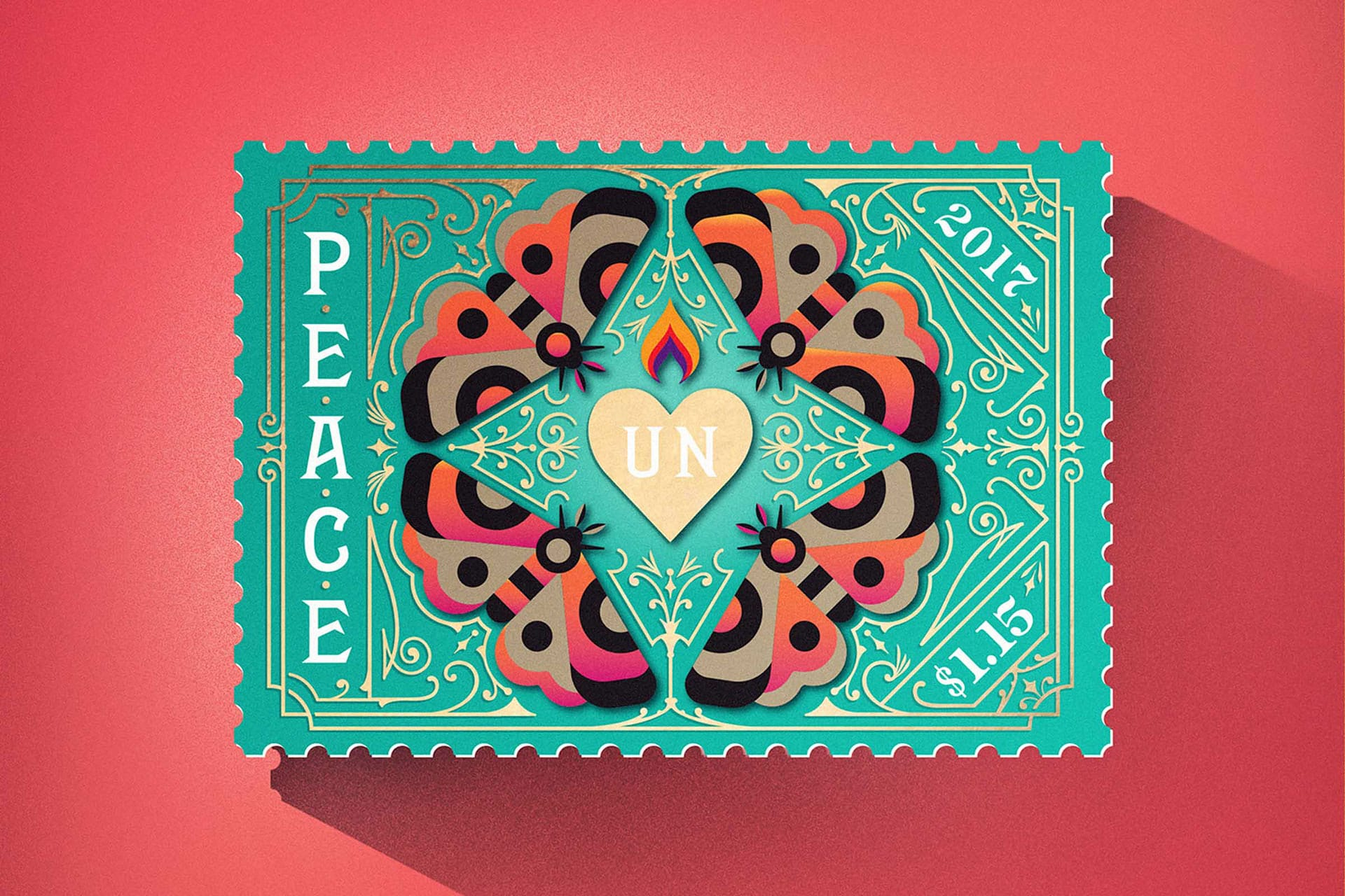 2018 graphic design print design trends maximalism maximalist UN peace stamps