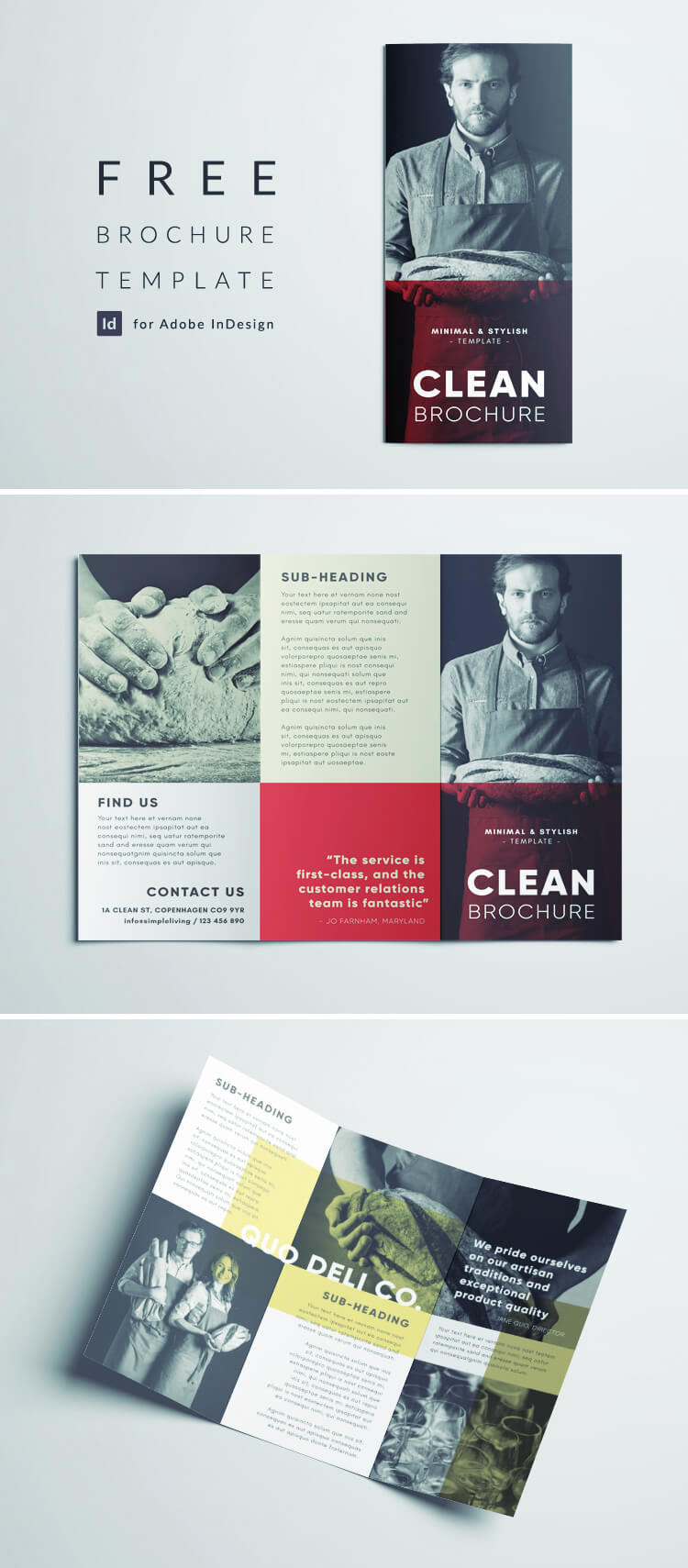Clean Brochure Tempalte - Free InDesign Clean Brochure Template with Minimal Black and White Photography - Red and Yellow