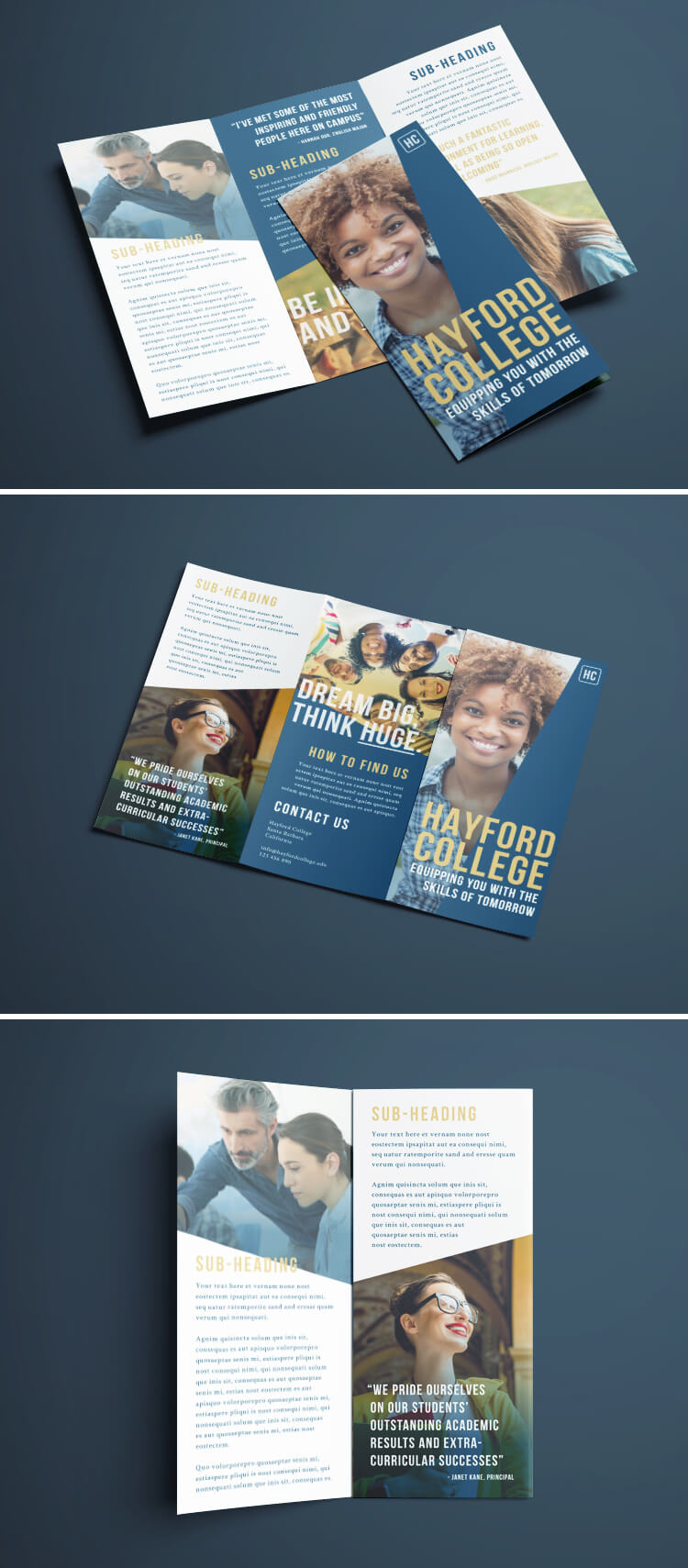 Free Tri-Fold Brochure Layout Download - Smart Blue. Gold & White College Design