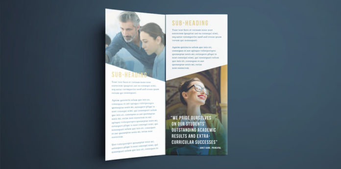 Tri-fold InDesign Brochure Template - Free College Brochure Layout - Dark Blue and Gold Colors