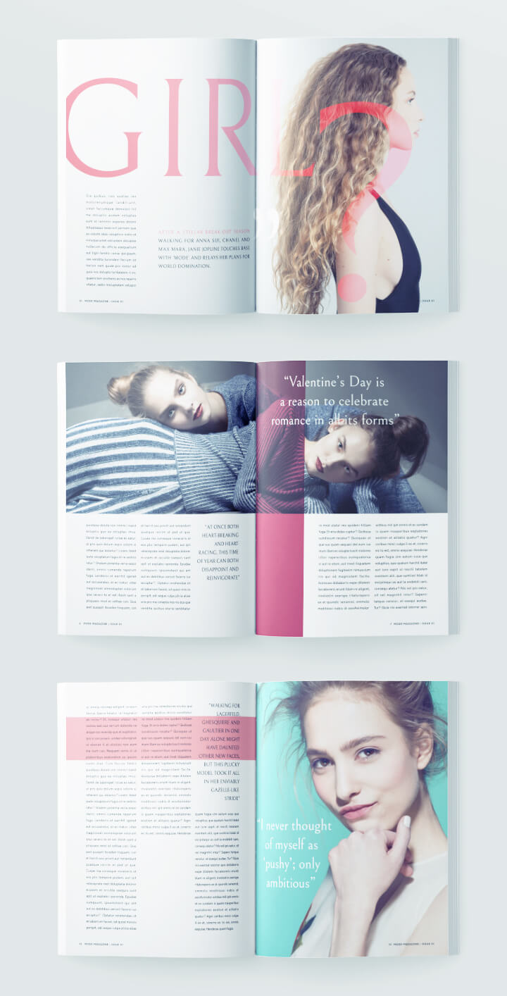 fashion magazine design - free magazine template - 1 cover - 12 pages - 6 spreads