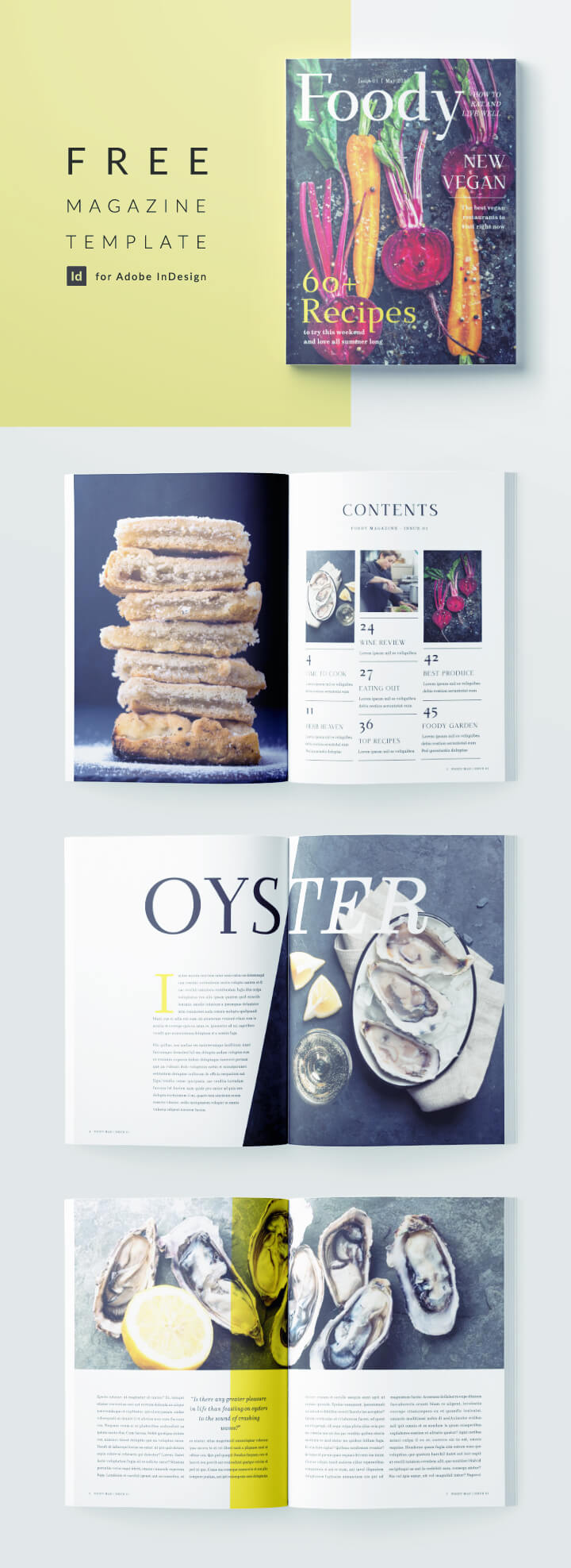 Free Magazine Template - Modern Food Magazine - 12 pages - Free Download for InDesign