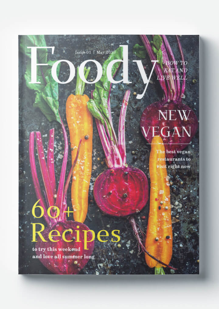 Food Magazine Cover Template - Free Download - Foodie, Gourmet, Vegan, Clean Eating, Recipes, Cooking