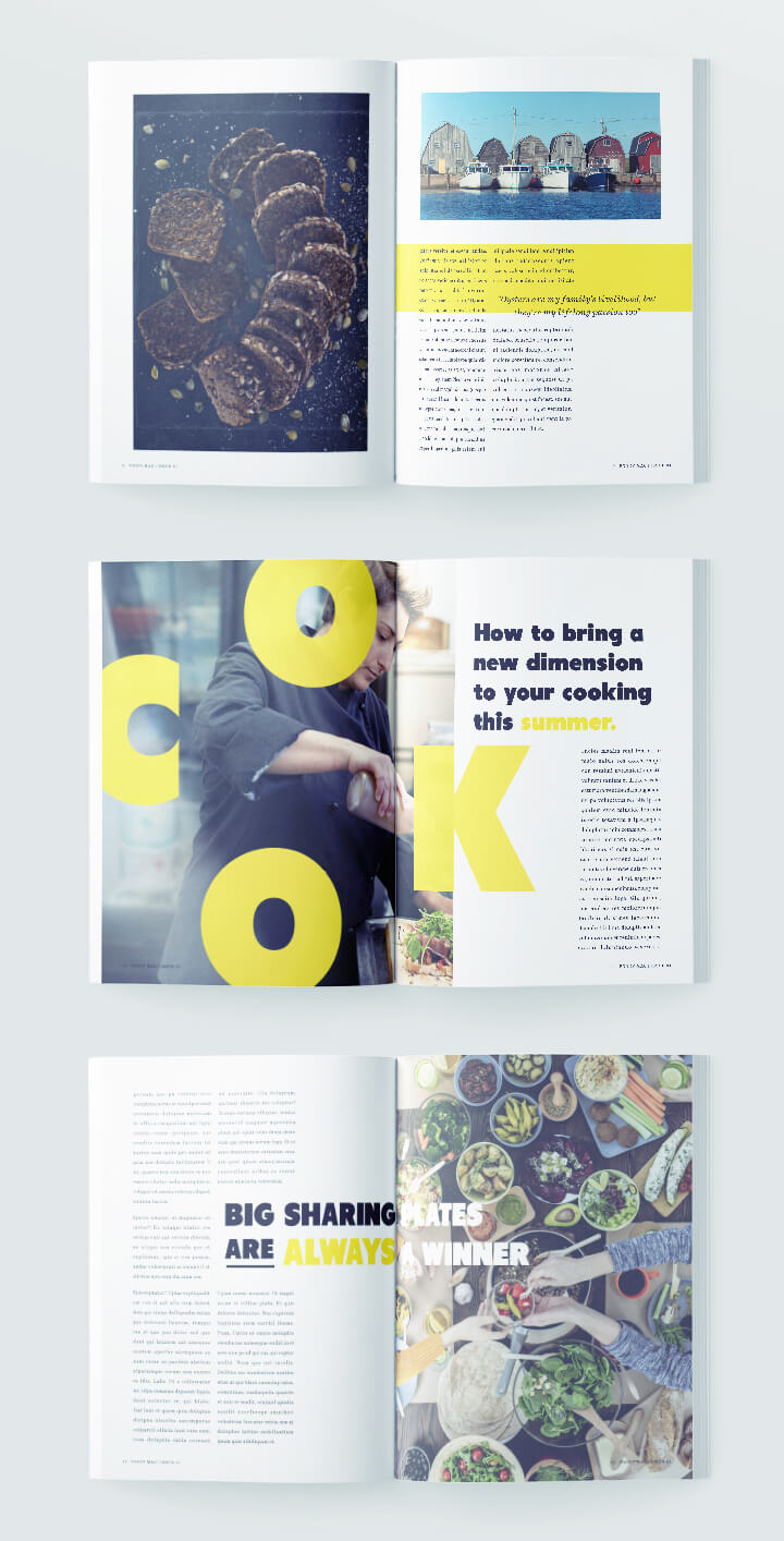 Magazine Layout Design - Food Magazine - Free 12 page template for InDesign