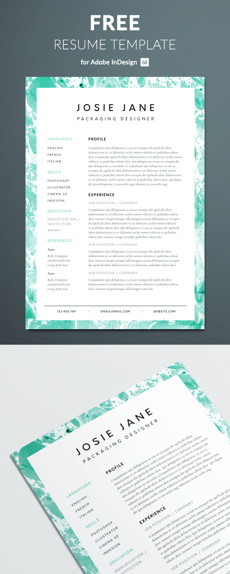 creative resume template for indesign - perfect graphic design resume