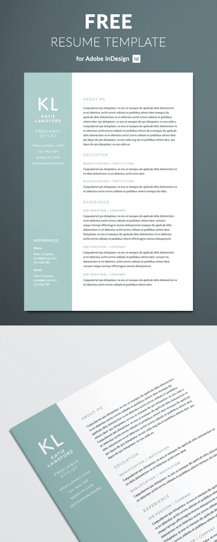 free modern resume template for indesign - free indesign templates