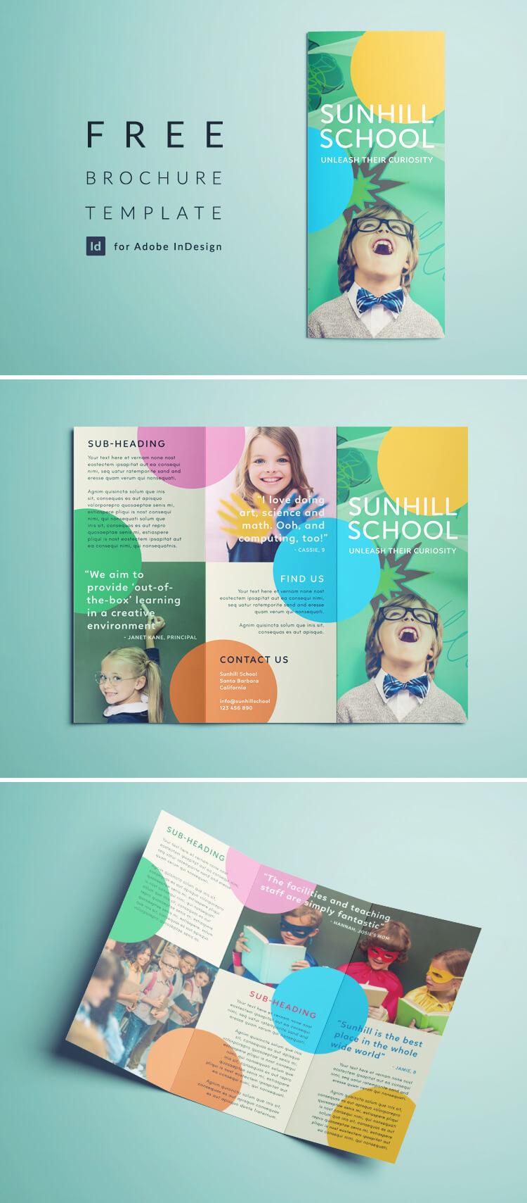 Free School Brochure Template - Tri-fold Colorful Brochure Template for InDesign - Free Download