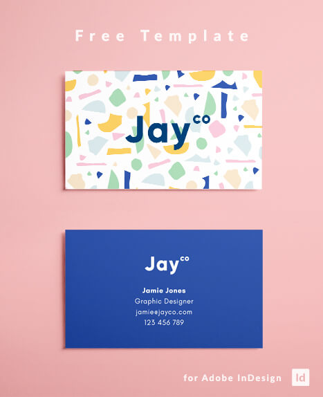 Free Business Card Template - Terrazzo Effect Layout Design - Free Download for InDesign