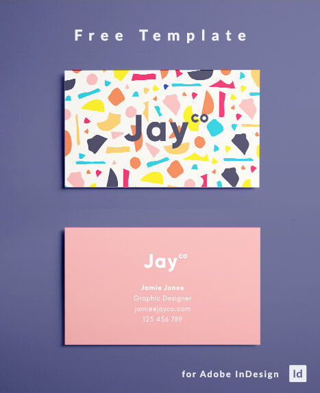 Free Terrazzo Business Card Template - Modern Business Card Template / Graphic Design / Colorful / InDesign