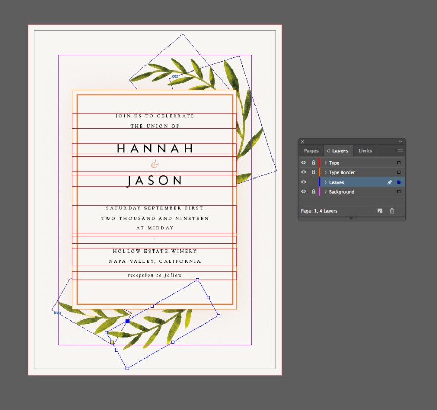 botanical rustic wedding invite indesign olive vector